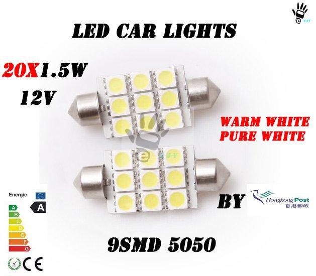 LJY LED! 9smd 5050 festoon led 39MM Car LED Festoon Dome Light Automobile Bulbs Lamp tail lights/indicator(China (Mainland))