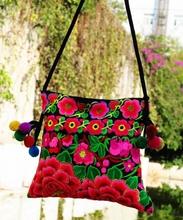 National trend Hot selling Handmade embroidered handbag Ethnic Women Messenger Shoulder bag Pompon Small cross-body bag