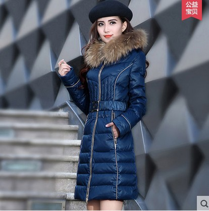 2014 new winter white duck down coat women long slim 100% real raccoon fur plus size M-3XL lady thick warm down jacket XQ440Одежда и ак�е��уары<br><br><br>Aliexpress