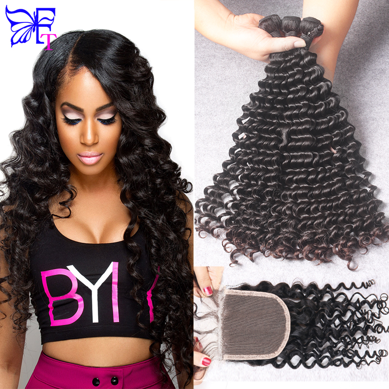 Malaysian Curly Hair With Closure 3 Bundles With Closure Deep Curly Unprocessed Human Hair Bundles With Lace Closures Free Ship