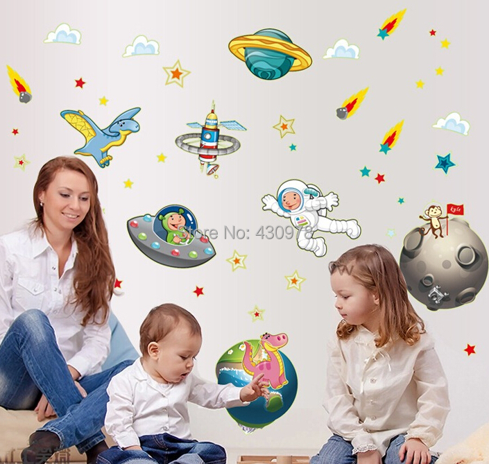 QZ1368 Free Shipping 1Pcs Space Travel Rocket flying saucer UFO comet astronauts Earth Moon fluorescent Wall Stickers Room(China (Mainland))
