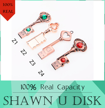 HOT USB Pen Drive Metal Pure Copper Heart Key Gift USB Flash Drive 512GB mini USB stick Key Genuine 4g 8gb 16gb 32gb Thumb Stick