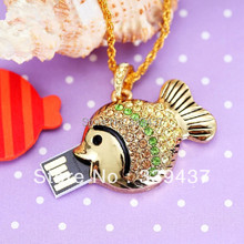 real capacity pendrive 32gb flash drive rich crystal usb flash drive usb stick 4GB/8GB/16GB/32GB Memory Drive gold fish gift(China (Mainland))