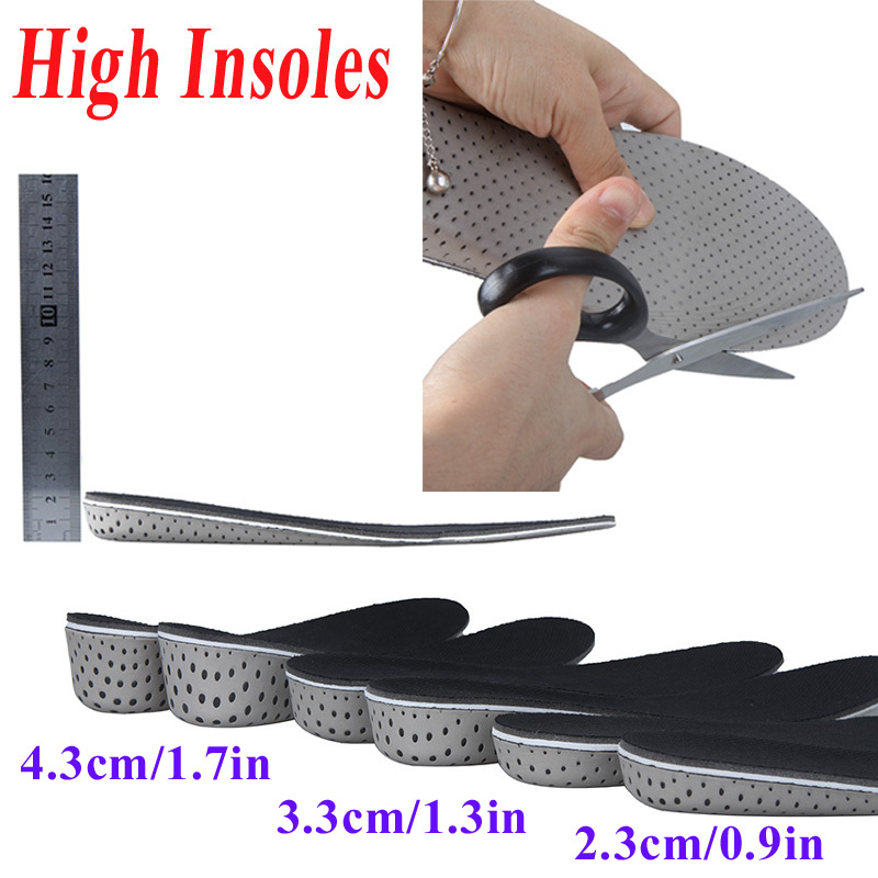 High quality Men Women Increase Height High Full Insoles Memory Foam Shoe Inserts Cushion Pads(China (Mainland))