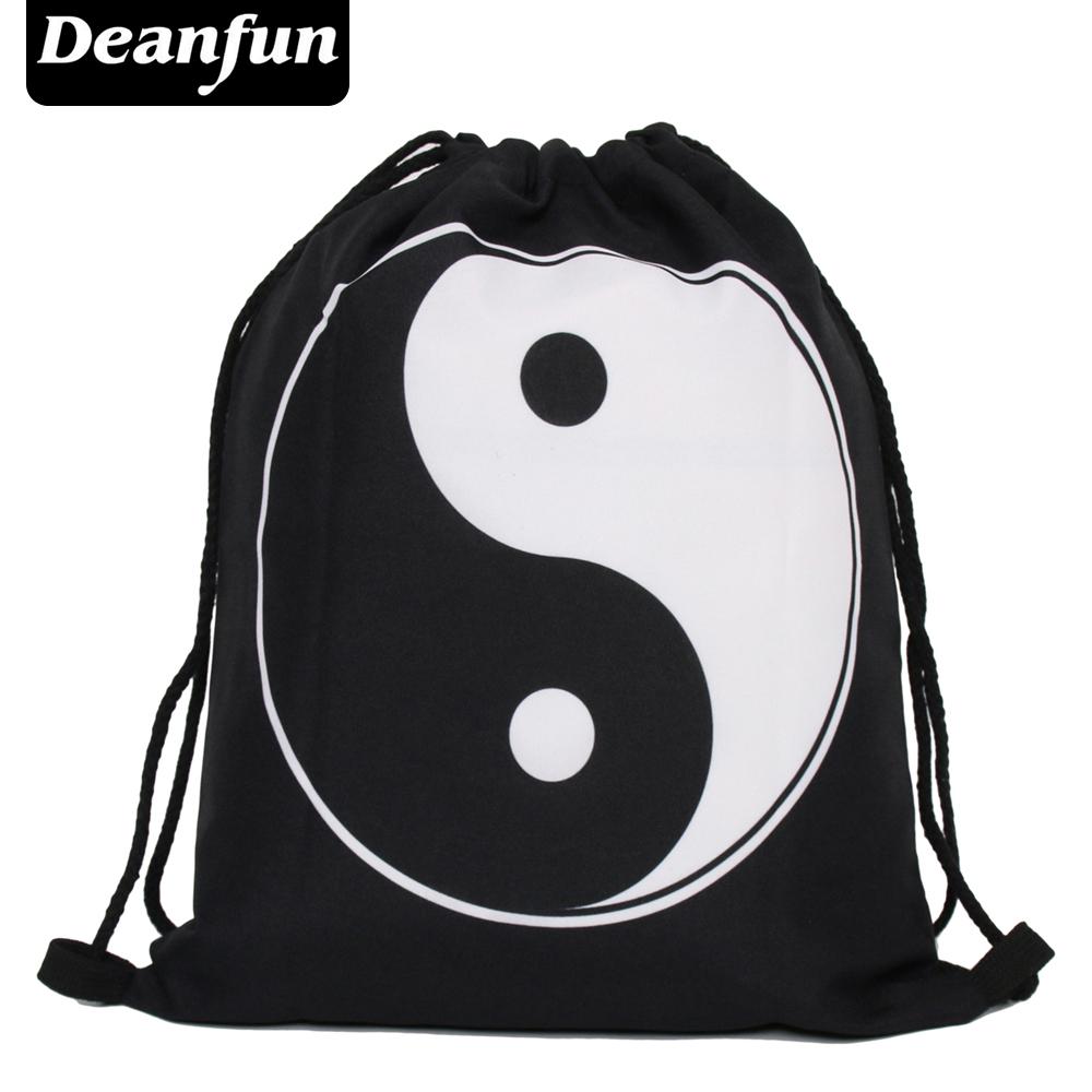 Deanfun 2017 new fashion escolar backpack 3D printing taijii softback man women mochila feminina drawstring bag yin yang s36