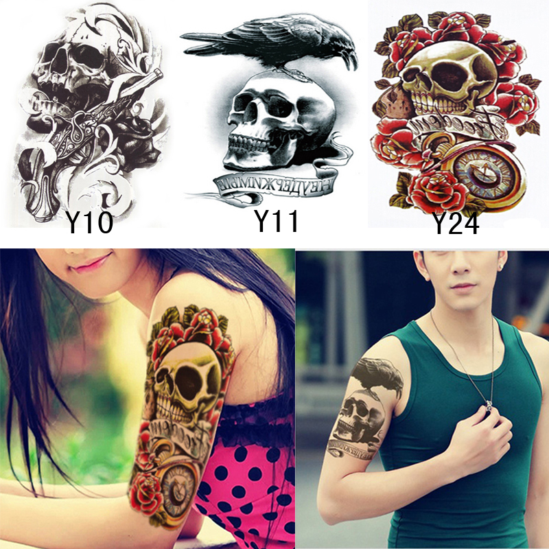 3PCS Shoulder Men's Tattoos Waterproof Temporary Tattoo For Men 3D Fake Tattoo Stickers On The Body Arm Sleeve Body Art Beauty