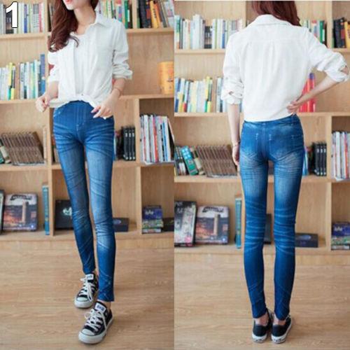 Мода дамы женщин отпечатано имитационные летний стиль стройный джинсы эластичный ...