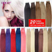 """Doozy 7A Tape Hair Extenisons 16"""" 18"""" 20"""" 22"""" 24"""" 20pcs/set Tape In Remy Human Hair Skin Weft Brazilian Hair Extension(China (Mainland))"""