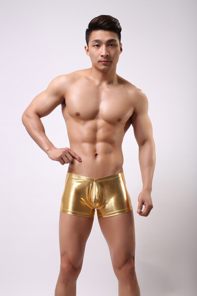 4 Color New Metallic Mens Boxer Shorts PVC Leather Shiny Male Underwear High Elastic Cool Shorts