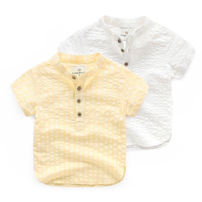 Baby cotton short sleeved shirt children summer 2016 New England Chinese Childrens Boys collar shirt(China (Mainland))