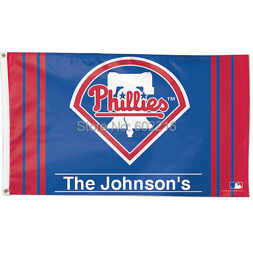 Philadelphia Phillies Personalized The Johnson's Flag 3ft x 5ft Custom flag(China (Mainland))