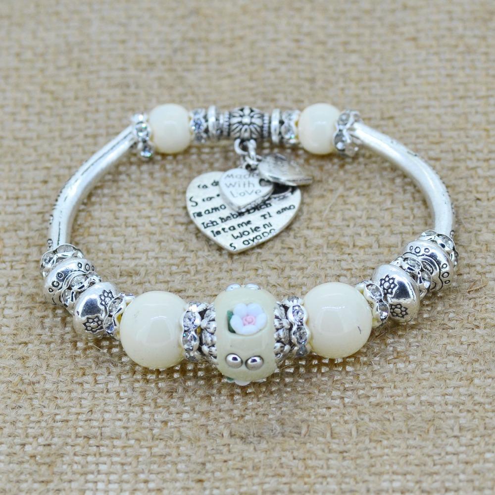 Crystal Bracelet Bangles Antique Silver European Bead Love Charm Glass Beads Strand Bracelets For 2014 Women