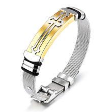 Moduł mężczyzn Christian bransolety z krzyżem biblijnym dla kobiet bransoletka ze stali nierdzewnej regulowany kolor srebrny krzyż modlitwa biżuteria męska(China)
