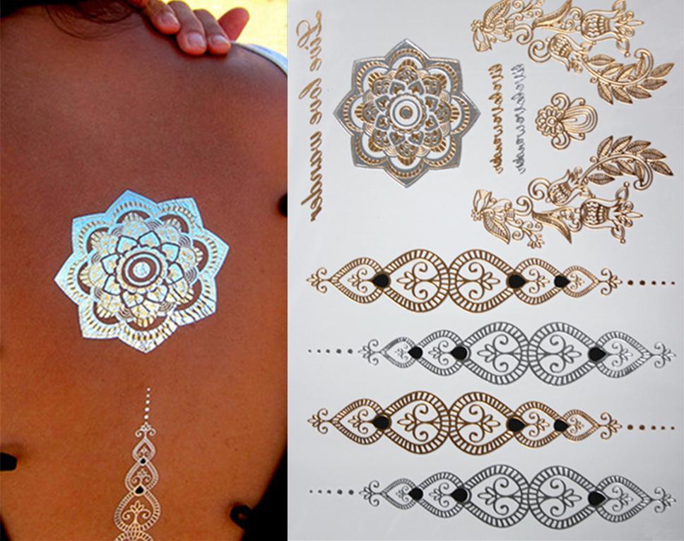 1PCS Hot tattoo New Fashion Metalic Gold Tatoo Temporary Flash Tattoos Sex Products Henna Metal Bling