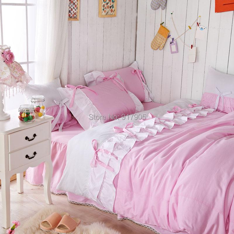 Romantic pink queen comforter set korean pink falbala ruffle fairy duvet cover set twin size - Twin size princess bed set ...