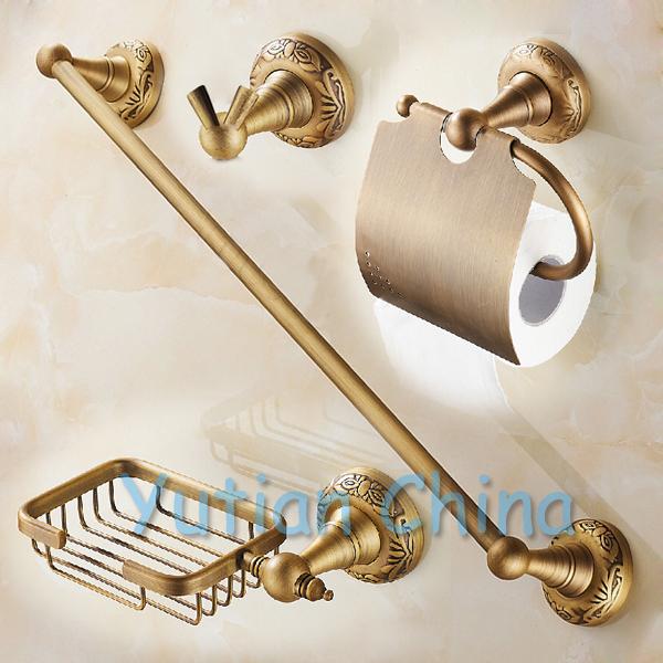 Free shipping,Antique Brass Bathroom Accessories Set,Robe hook,Paper Holder,Soap holder,Towel Bar,bathroom sets,YT-10700-A(China (Mainland))