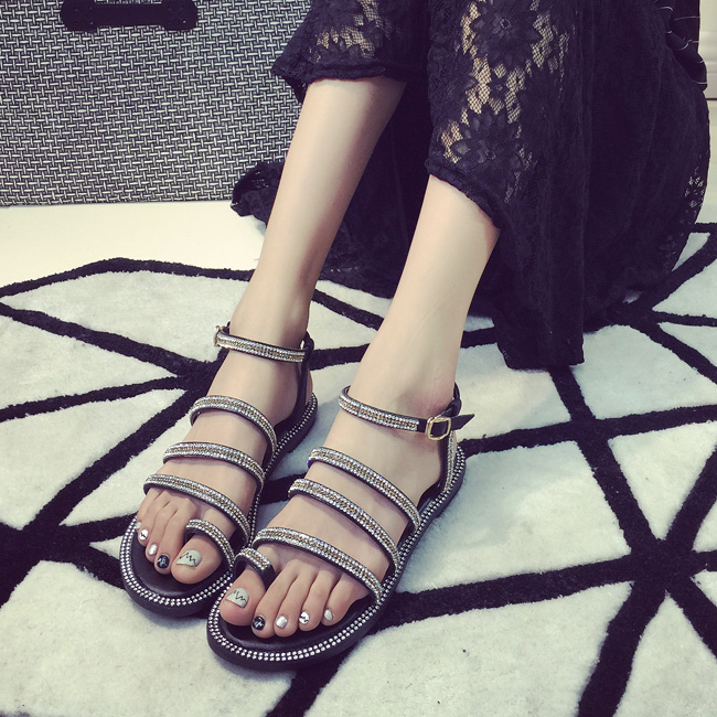 Hot selling summer 2015 the new diamond clip toe women flat sandals with fashion casual shoes(China (Mainland))