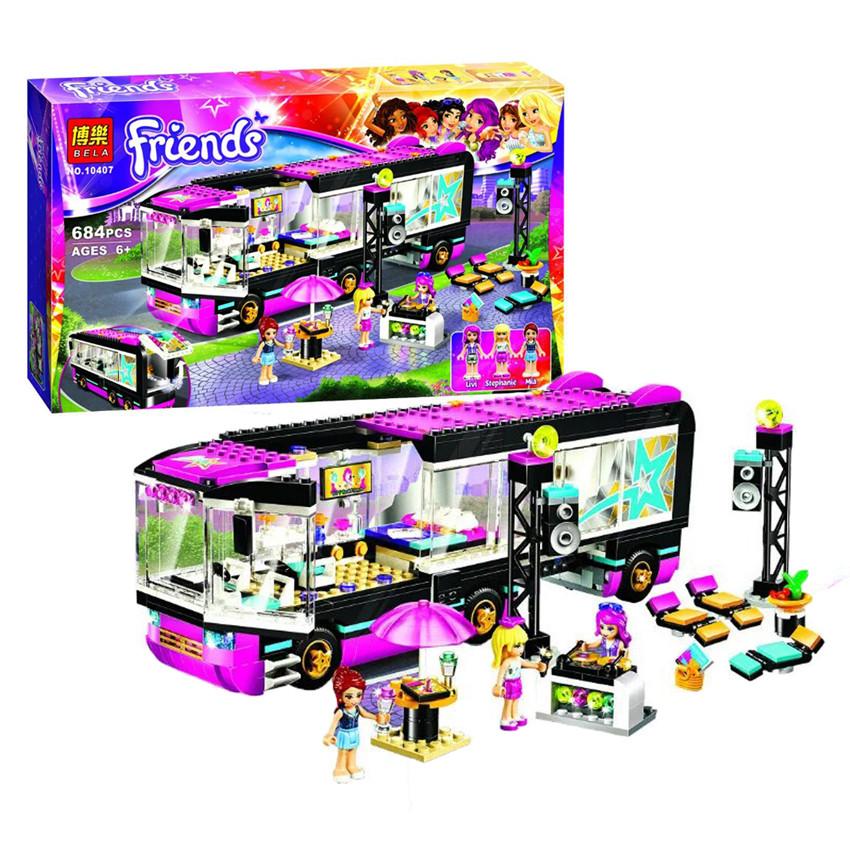 Bela 10407 684Pcs Friends Series Pop Star Tour Bus Model Building Kits Minifigure Blocks Bricks Girl Toys Compatible Legoe 41106(China (Mainland))