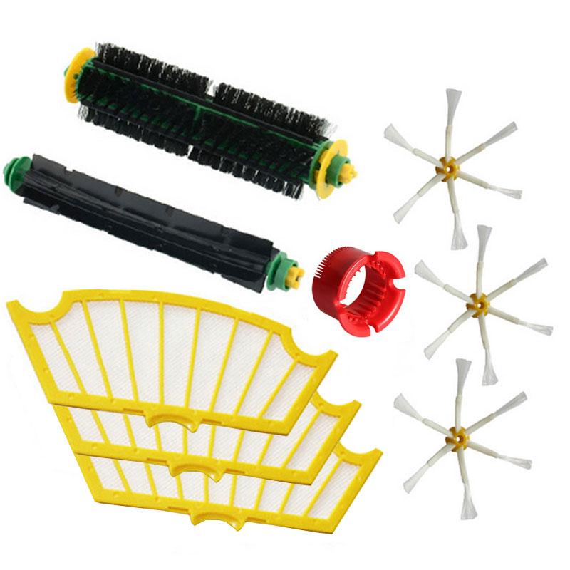 Bristle & Flexible Beater Brush & Hepa Filter & Side Brush kit Replacement for iRobot Roomba 500 Series 520 530 560 580(China (Mainland))