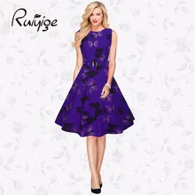 2017 RUIYIGE New Arrival Women Floral Print Sleeveless Vintage 50s 60s Casual formal evening party Retro lady Dress vestido C870(China (Mainland))