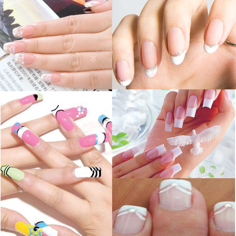 Free shipping 10 Packs/lot French Manicure Nail Art Tips Form Fringe One Style Guides Nail Sticker Tips(China (Mainland))