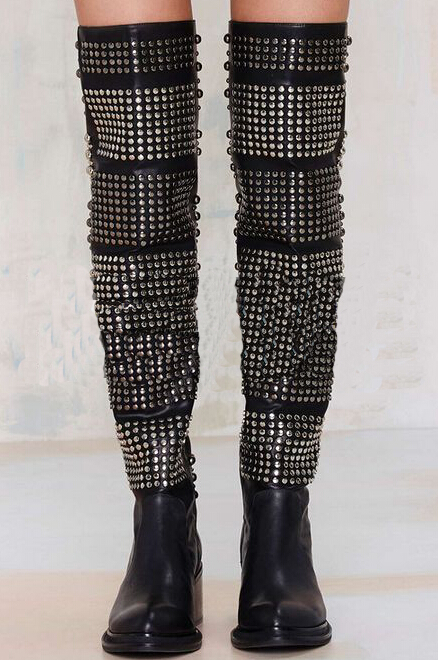 Super Cool Women Knee High Motocycle Boots Studs Cover Square Med Heel Ladies Sexy Long Boots Martin Boots Plus Size 42(China (Mainland))