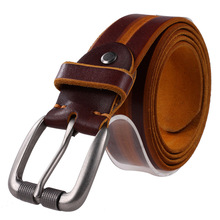 Buy Jeans Designer Belt Men High Brown Luxury 100% Real Full Grain Cowhide Genuine Leather Fashion Cowboy Belts Unise for $15.99 in AliExpress store