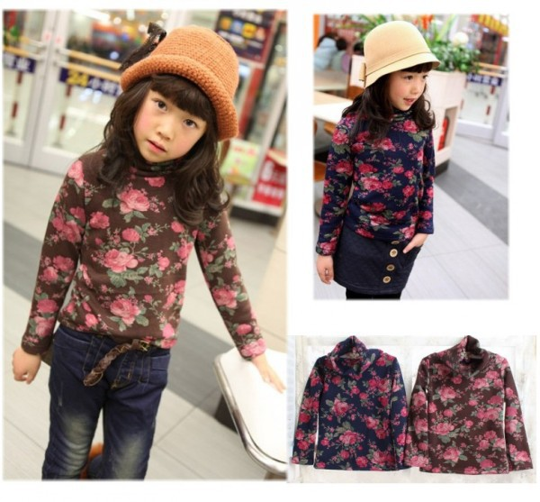 In Stock! Children's Warm Winter Wear Clothes Top Flower Baby Girl's T Shirts Full Sleeves Turtleneck Tee With Fleece Inside(China (Mainland))