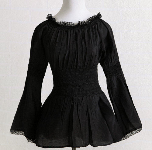 long sleeve black lace edge vampire lolita gothic vintage online store off shoulder tops for women(China (Mainland))