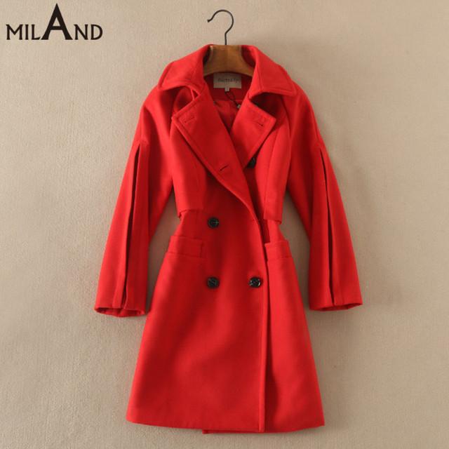 Turn down воротник двойной брестед красные шерстяные пальто 2016 осень зима женская мода верхней одежды высокого качества 929
