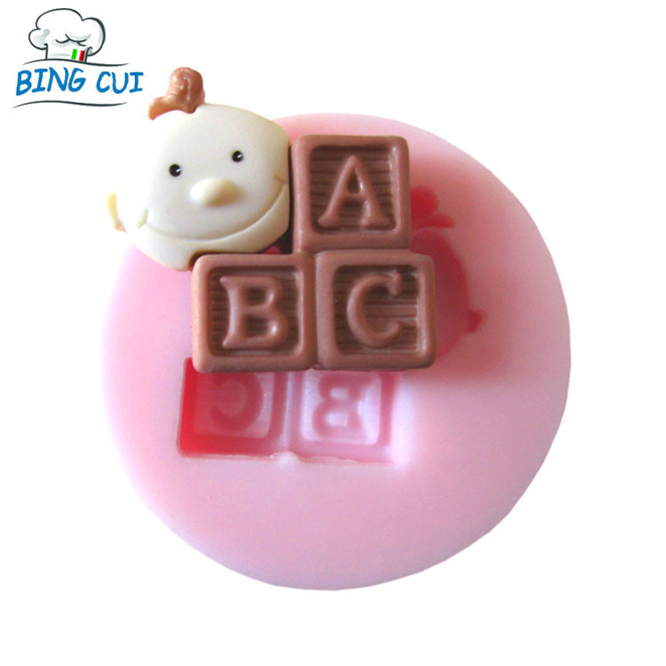 DIY Beautiful Baby ABC Letter Cake Mold SGS FDA Certified Fondant Silicone Chocolate Mold Candy Pastry Tools Bakeware Q006(China (Mainland))