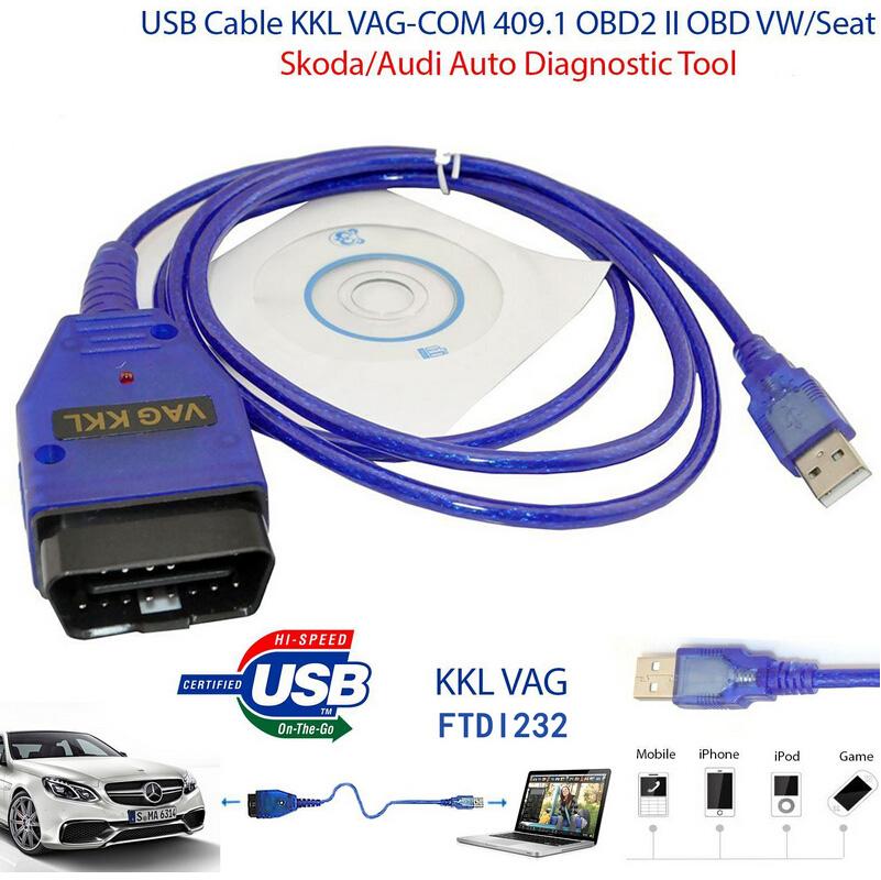 VAG-COM KKL 409.1 OBD2 USB Cable Auto Scanner Scan Tool For Audi VW Skoda SEAT