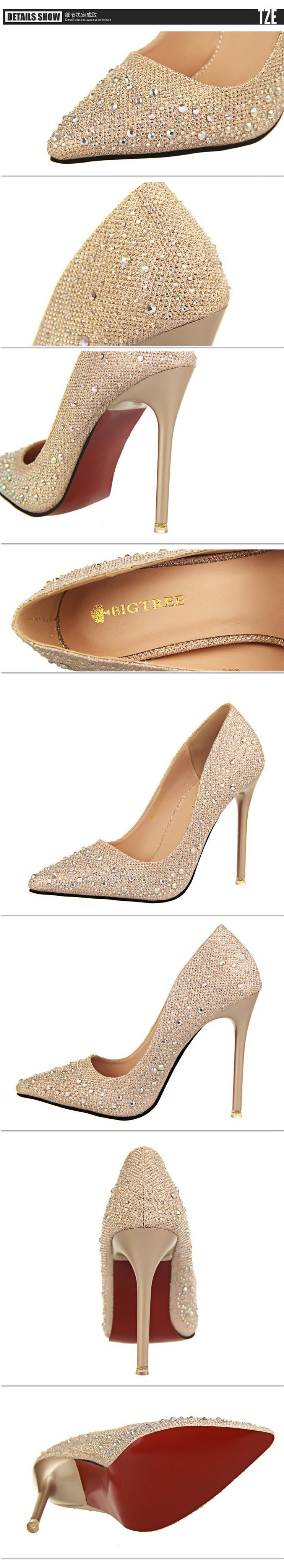 Fashion Women's Pumps Sexy Rhinestone Wedding Shoes New Arrival Women Shoes Sapatos Femininos Sexy Red Bottom High Heels ZX35
