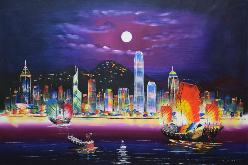 Hot Sale Hand Painted Modern Knife Canvas Oil Painting Hong Kong City Night Landscape Wall Pictures for Living Room(China (Mainland))