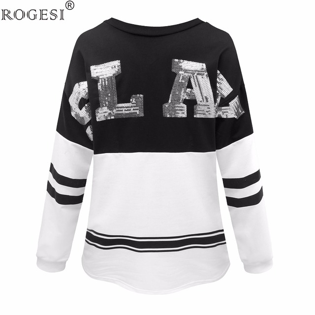 Rogesi 2016 Новый Повседневная Женщины Футболки с Блестками С Длинным Рукавом Круглый Шеи Известный Дизайнер женская Одежда American Apparel