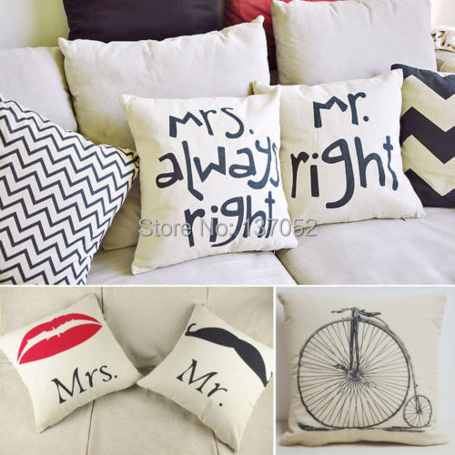 Hot sale new printed Couples Back Cushion Cover Pillow Case Waist Pillow Cotton Decor In Bed Sofa Car(China (Mainland))