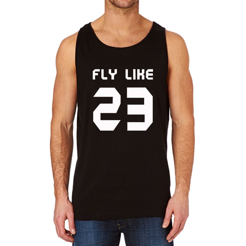 Loo Show FLY LIKE 23 Basketball Black Cotton Awesome Casual Tank Top Men(China (Mainland))