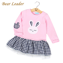 Bear Leader Girls Dress 2017 Spring Casual Style Baby Girl Clothes Long Sleeve Cartoon Bunny Print Plaid Dress for Kids Clothes(China (Mainland))
