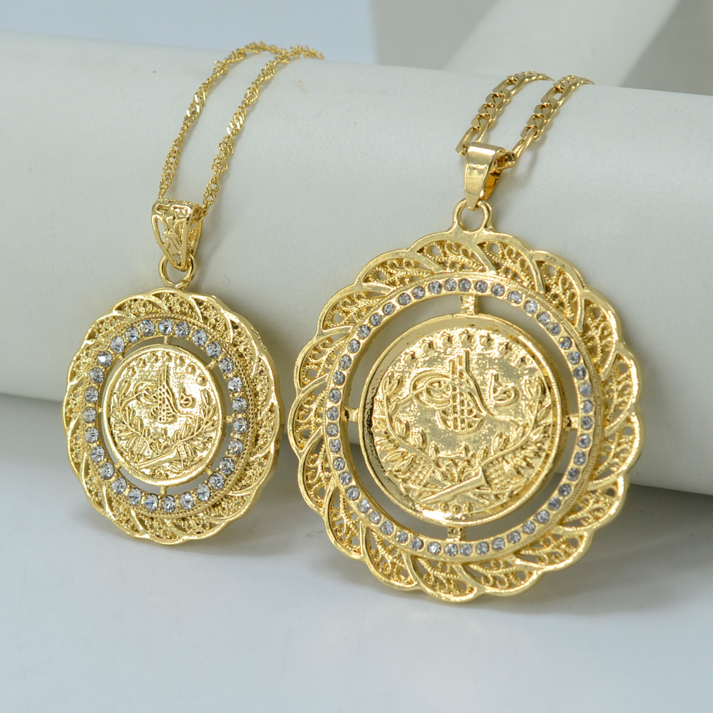 TWO SIZE /Pendant Necklace Arab Coin for Women 18k Gold ...