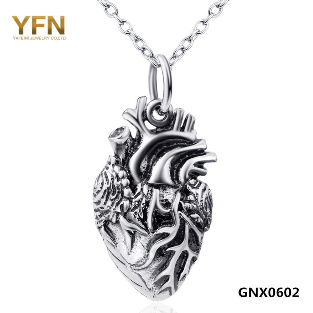 GNX0602 925 Sterling Silver Anatomical Heart Necklace Halloween Jewelry Vampire Necklace Pendant with 1.2mm Rolo Chain(China (Mainland))
