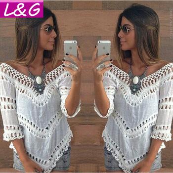 Летний стиль 2015 женщины блузки горячая распродажа Большой размер кружева крючком ...