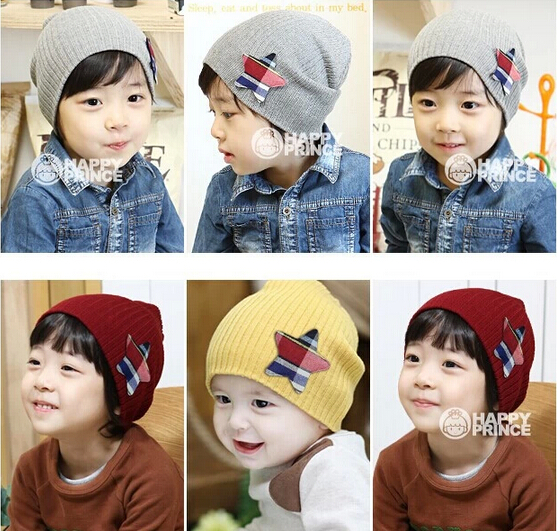 Russia Free Shipping baby Boy girl Hats autumn and winter star kids Knitted caps Keep warm patchwork cap 7color(China (Mainland))