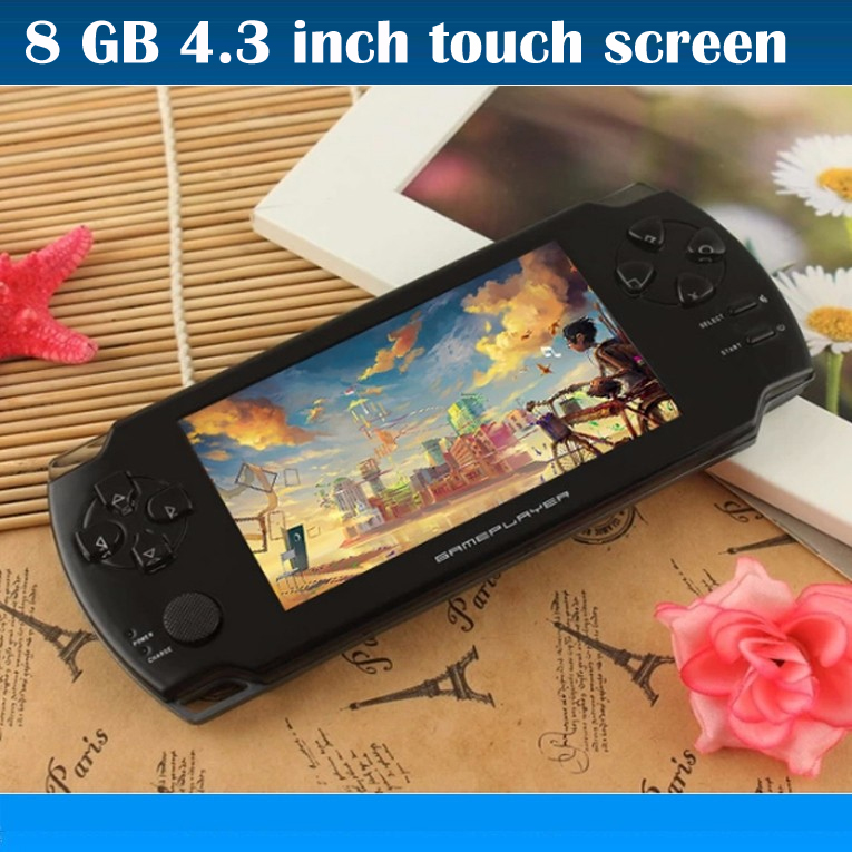 8GB portable game console 4.3 inch touch screen with camera Ebook handheld more many kinds free games MP3 MP4 Player(China (Mainland))