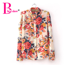 4xl 5xl Plus Size Clothing New Fashion 2016 Autumn European Vintage Floral Print Long Sleeve Women Tops Women's Shirts Blouses(China (Mainland))