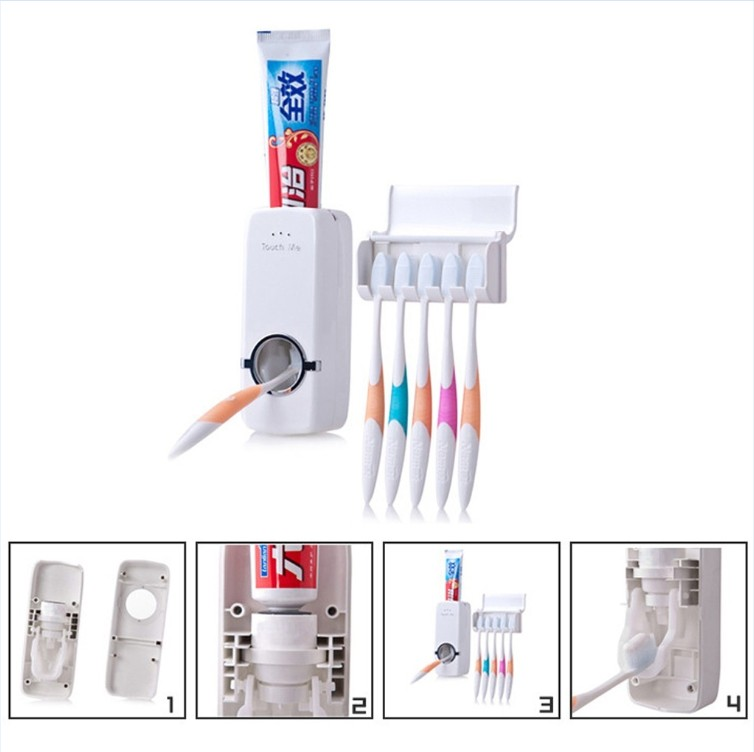 Automatic Toothpaste Dispenser +Toothbrush Holder Can hold 5 Toothbrush Wall Mount Stand Bathroom Tools for home Bathroom(China (Mainland))