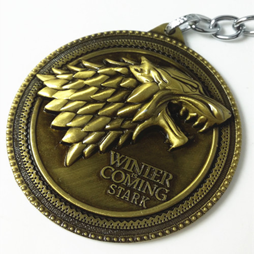 Hot Sale!Game of Thrones Shield Round Bronze Coin Metal Keychain Wolf Head Pendant Key Chain Chaveiro Key Ring(China (Mainland))