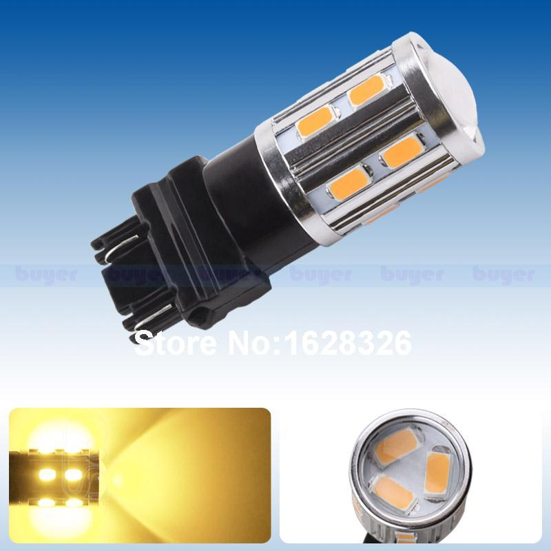 3157 3156 led High Power 15 SMD 5730 LED Amber Yellow Turn Signal Light P27W T25 led car bulbs P27/7W Light Source lamp(China (Mainland))