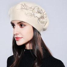 Bonnet Femme Women Beret Cotton Wool Brand New Knitted Fashion Flower Autumn 2019 Winter Hats For Women Caps #MZ741(China)