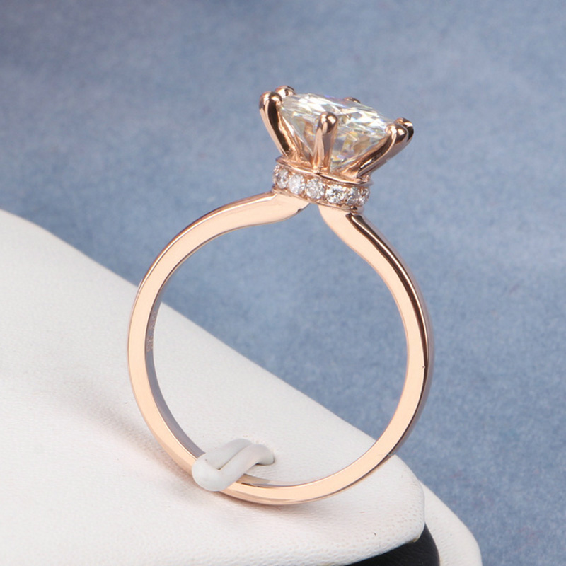1.9 Carat ct Elegant FGH Color Lab Grown Moissanite Wedding Ring Real Diamond Accents Halo Around Neck Solid 585 14K Yellow Gold<br><br>Aliexpress
