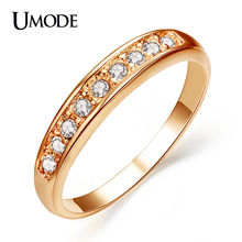UMODE 50%OFF!18K Rose Gold Plated TOP Class 9 pcs Rhinestones Studded Eternity Wedding Ring JR0001A(China (Mainland))